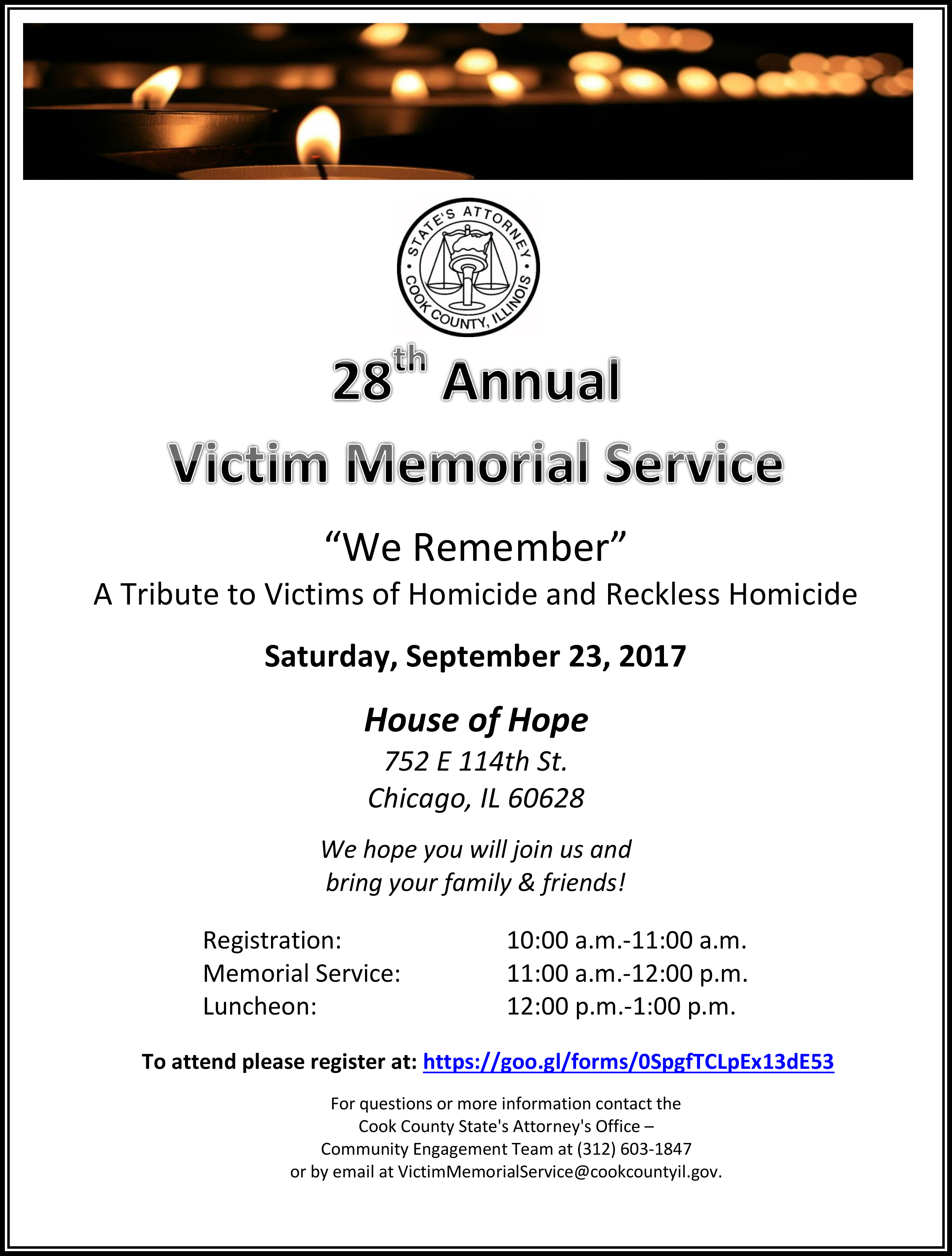 28th Annual Victim Memorial Service Information Flyer